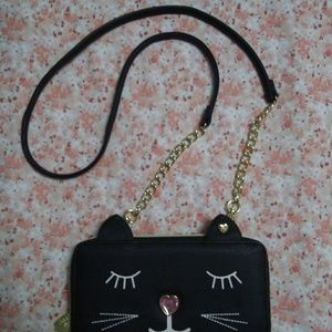 Betsey Johnson Cat Wallet on a String